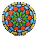 Ring Miranda Konstantinidou Ethnic Mosaic SS2014 - blue, yellow, orange, green and Svaroski crystals