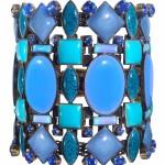 Bangle Miranda Konstantinidou Ethnic Mosaic SS2014, blue stones and Svarovski