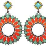 Earrings Miranda Konstantinidou Ethnic Mosaic SS2014, green, orange and yellow stones and Svarovski