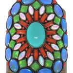 Bangle Miranda Konstantinidou Ethnic Mosaic SS2014, blue, green, orange and white stones