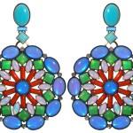 Earrings Miranda Konstantinidou Ethnic Mosaic SS2014, blue, green, white and orange stones and Svarovski