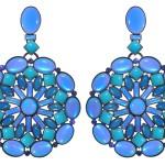 Earrings Miranda Konstantinidou Ethnic Mosaic SS2014, blue and green stones and Svarovski