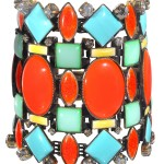 Bangle Miranda Konstantinidou Ethnic Mosaic SS2014, blue, yellow, green and orange stones and Svarovski